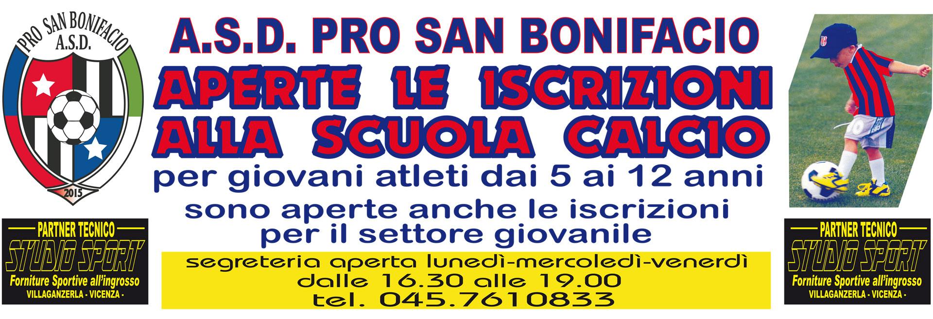 Alla A.s.d. Pro San Bonifacio Prosambo sono aperte le iscrizioni alla scuola calcio giovani atleti dai 5 ai 12 anni e del settore giovanile